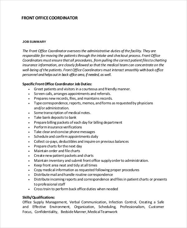 front office coordinator job description sample