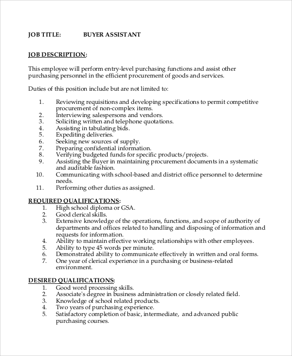 Buyer Job Description. Sample Resume Receptionist Administrative