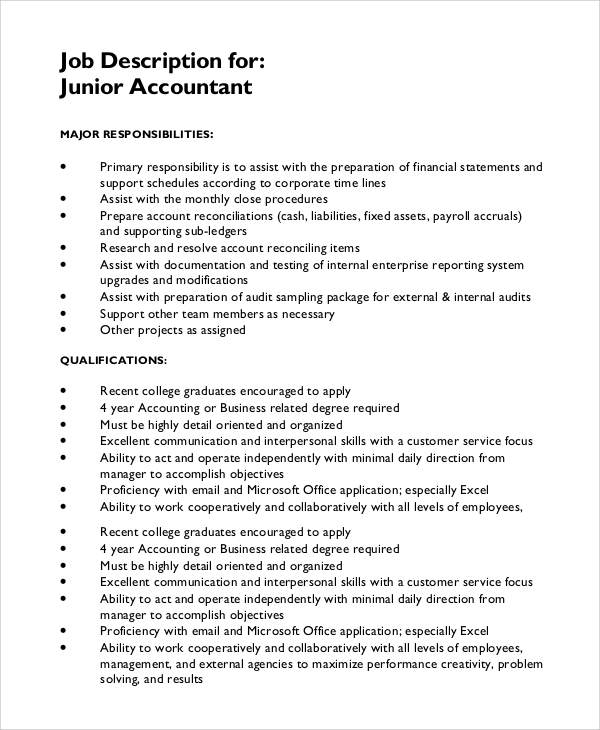 Sample Job Description 10 Examples in PDF Word – Accountant Job Description