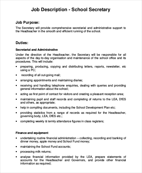 Job Description Sample Administrative Assistant Sample Job – Word Job Description Template