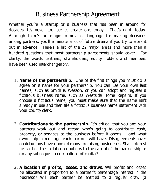 Start Up Business Partnership Agreement In Example  Business Partner Contract