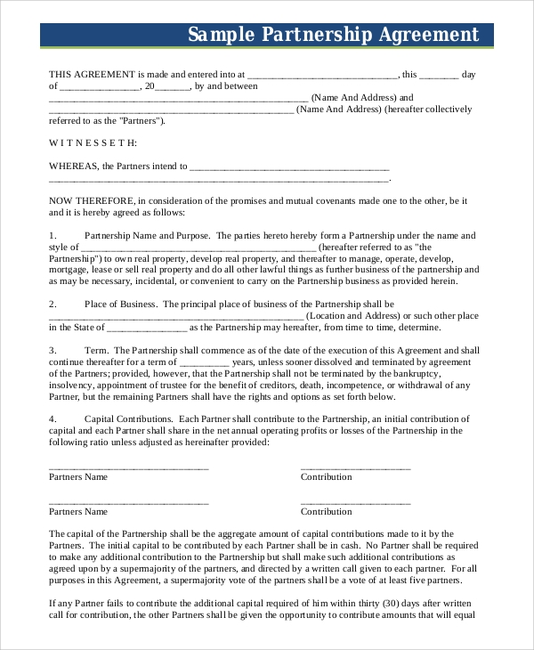 Sample Business Partnership Agreement 7 Examples in PDF Word – Business Partner Agreement
