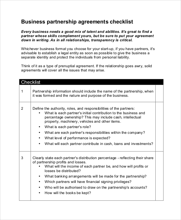 Sample Business Partnership Agreement   Examples In Pdf Word