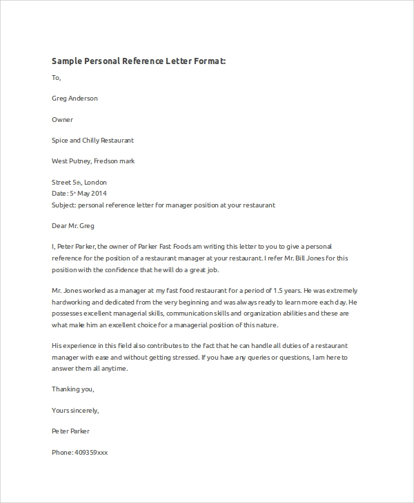 Sample Reference Letter Format - 8+ Examples in Word, PDF