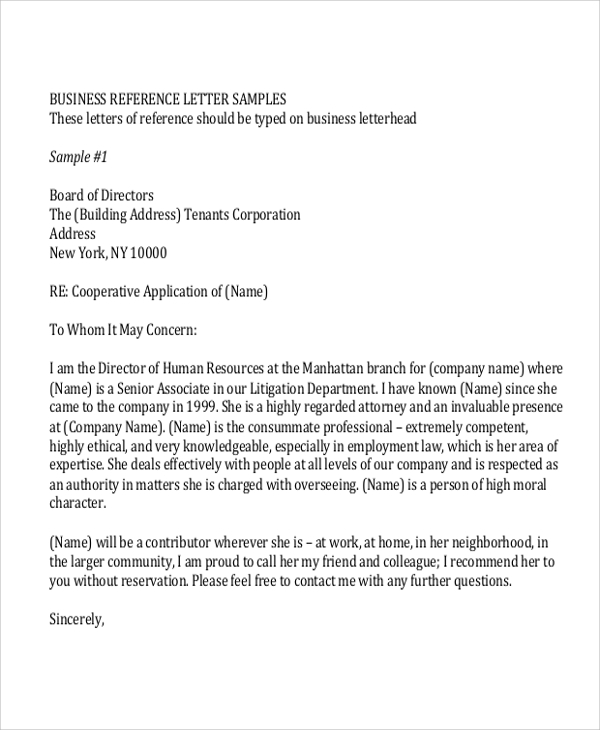 Sample Reference Letter Format   Examples In Word Pdf