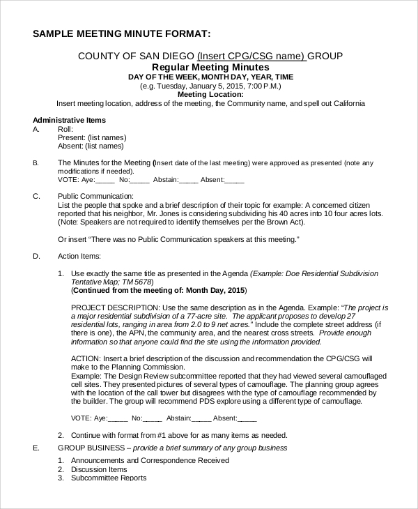 Sample Meeting Minutes Format 7 Examples in PDF Word – Minutes Format for Meeting