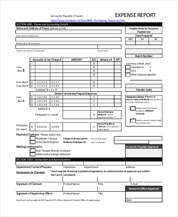 Sample Expense Report   Examples In Pdf Word Excel