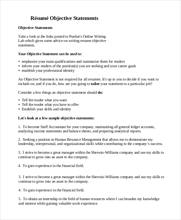 Free 9 Sample Objective Statement For Resume Templates In Pdf