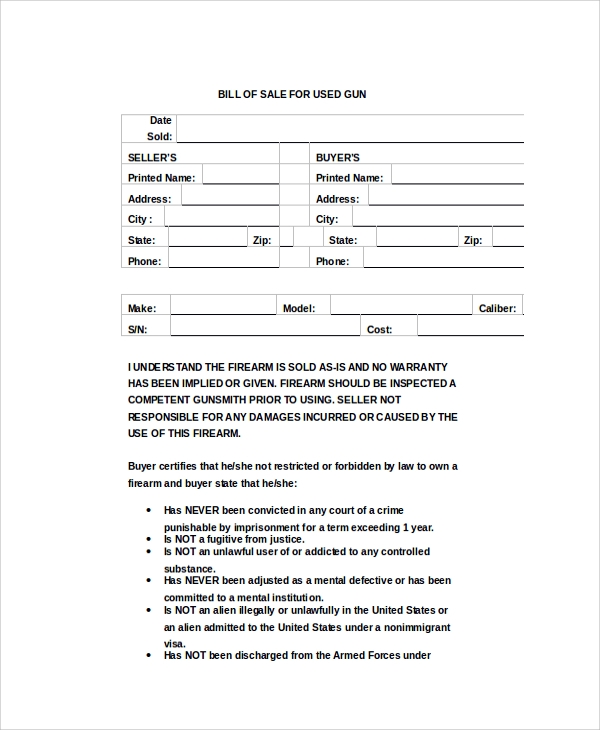 bill of sale for used gun