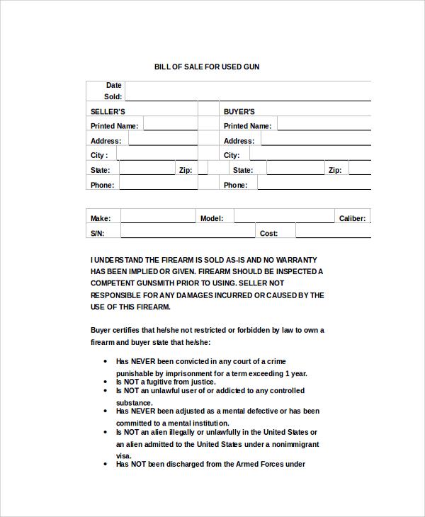 Sample Bill of Sale For Gun 8 Examples in PDF – Bill of Sale for Gun