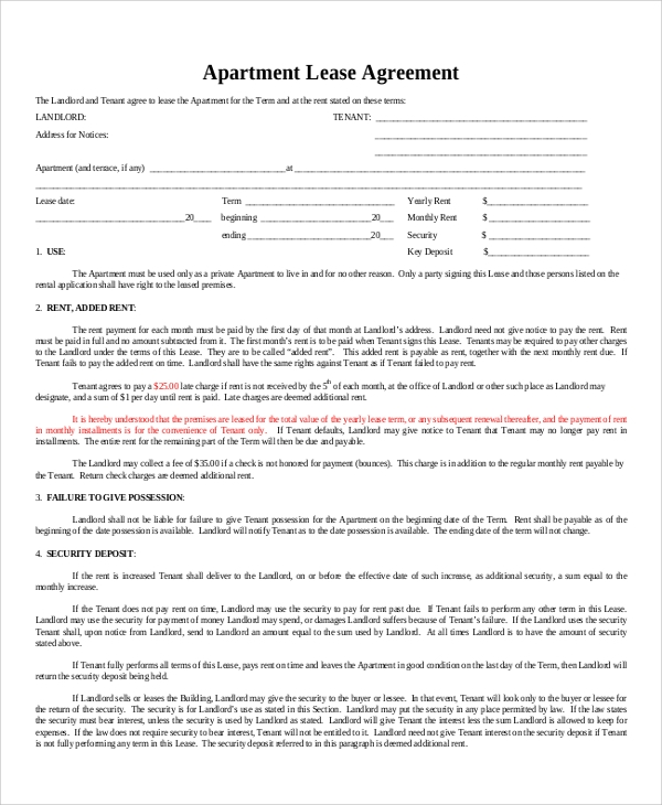 8 sample apartment lease agreements pdf word sample for Tenancy agreement renewal template