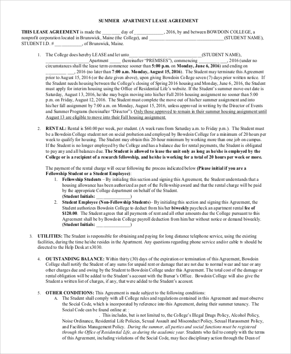 Sample Apartment Lease Agreement - 8+ Examples In Word, Pdf