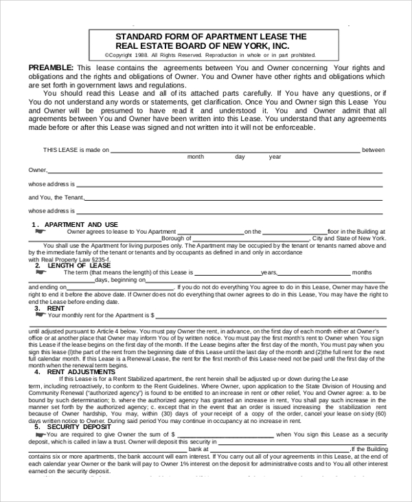 standard apartment lease agreement