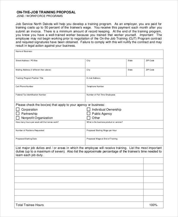 Sample Job Proposal 5 Examples in word pdf – Job Proposal Template