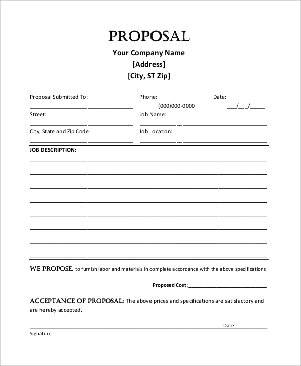 Blank Job Proposal Sample