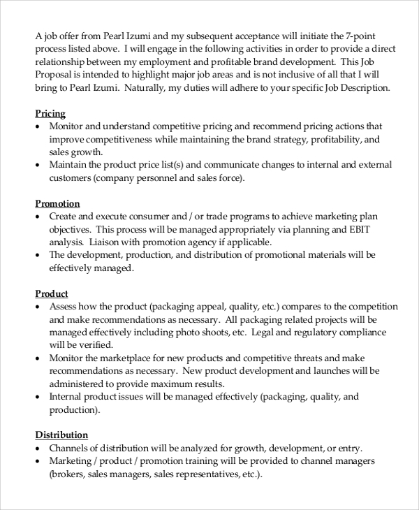 Sample Job Proposal   Examples In Word Pdf