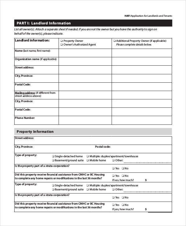Sample Tenant Application Form - 8+ Examples In Word, Pdf