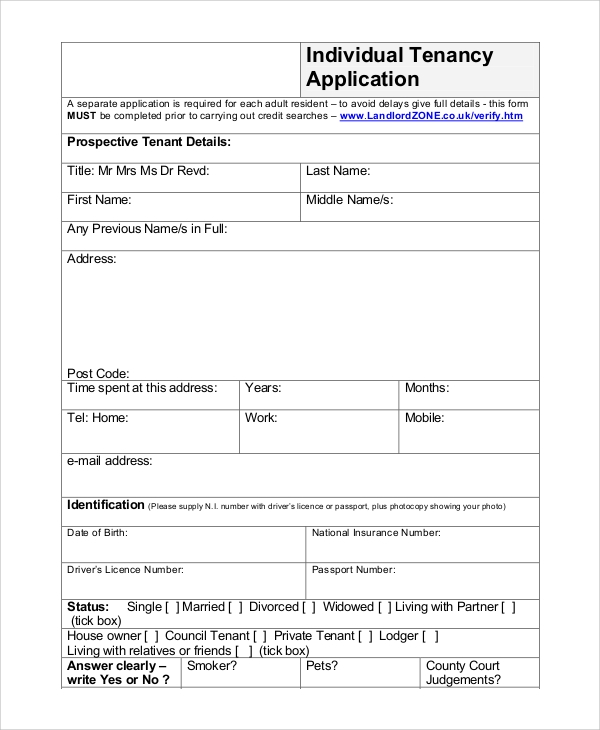 individual tenancy application form