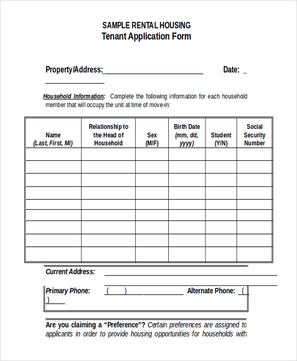 8 sample tenant application forms sample templates for Housing application template