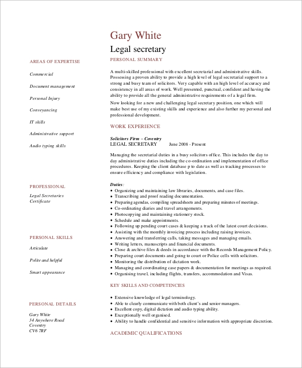 legal secretary resume - Sample Legal Secretary Resume