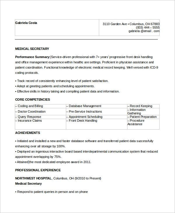 Sample Secretary Resume   Examples In Word Pdf