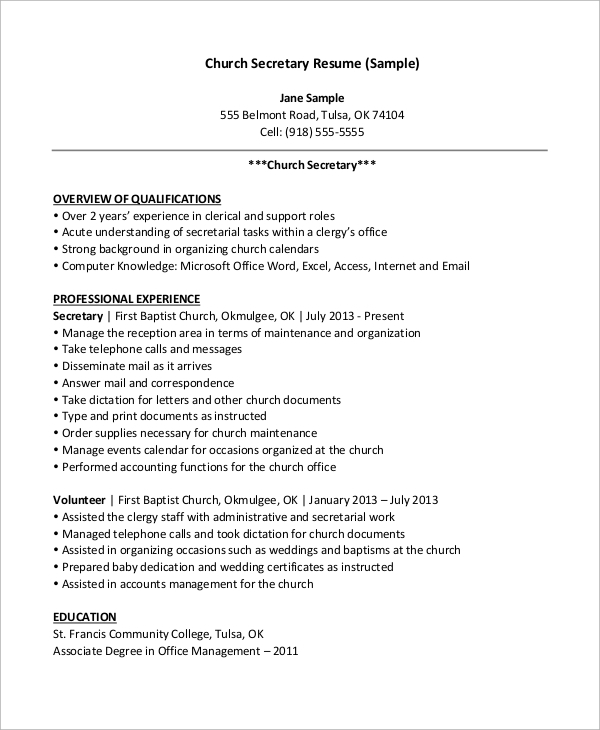 church secretary resume - Sample Pastoral Resume
