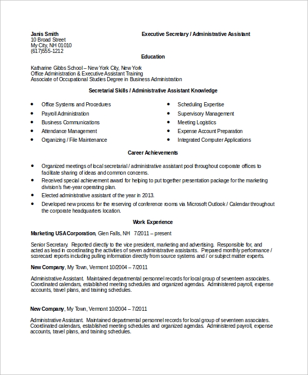 sample secretary resume