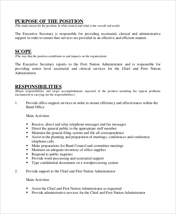Secretary Job Description For Resumes | Template