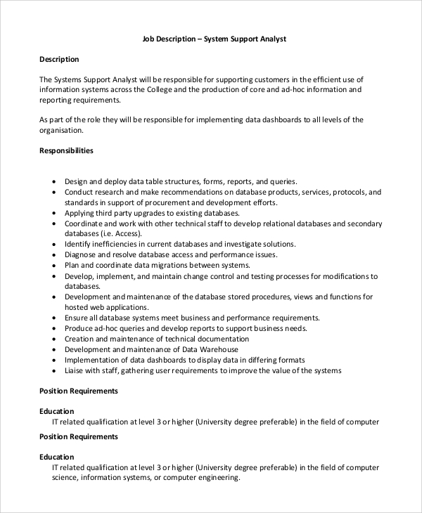 sample systems analyst job description
