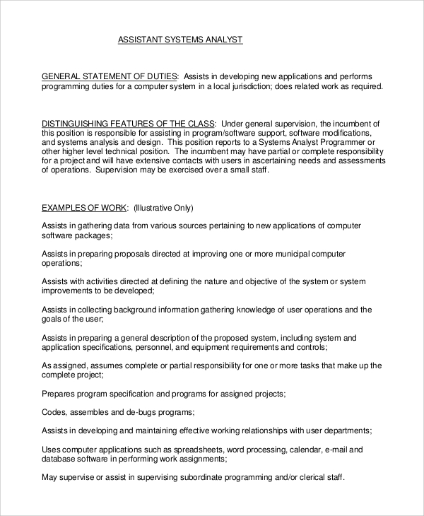 Sample Systems Analyst Job Description   Examples In Pdf