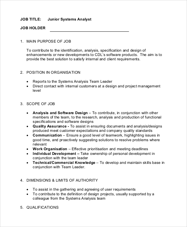junior systems analyst job description