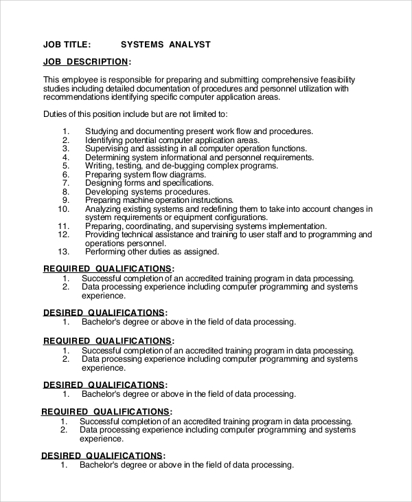 Sample Systems Analyst Job Description - 9+ Examples In Pdf