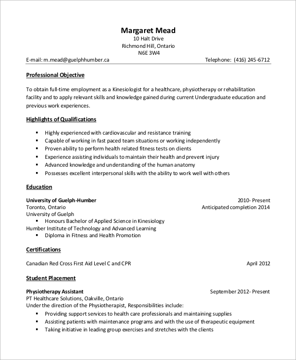 Free Sample Assistant Personal Trainer Resume