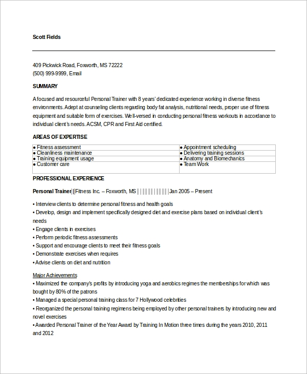 fitness trainer resume example resume examples sample resume and
