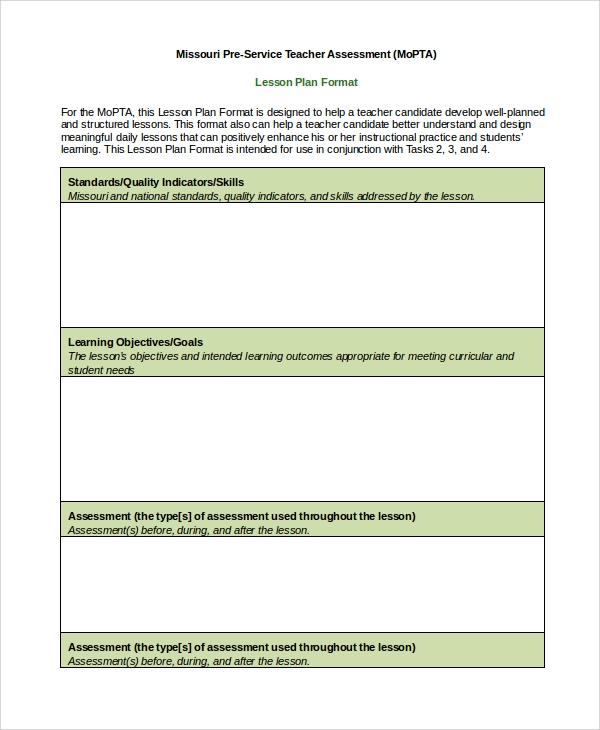 sample lesson plan format in word