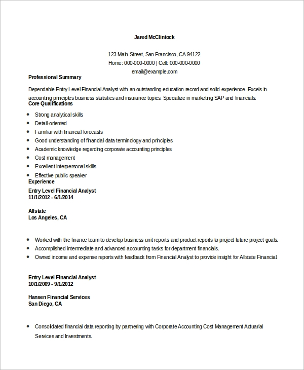 financial analyst resume example entry level