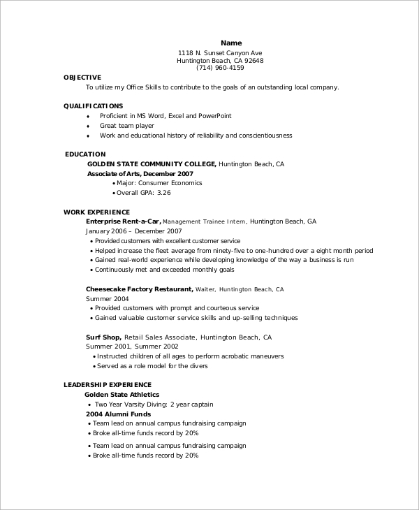 free 10  entry level resume samples in ms word