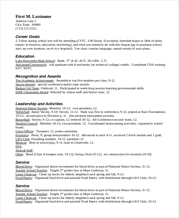 Resume Sample In Word   Examples In Word