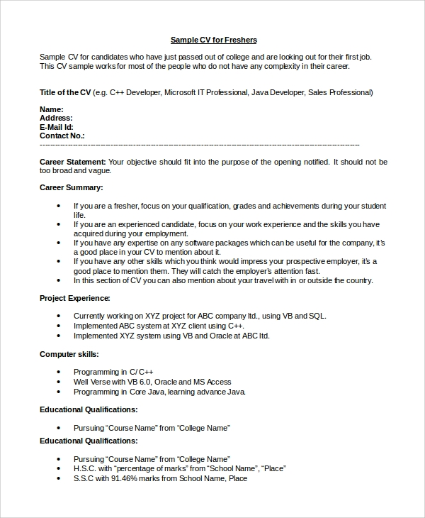 Resume Sample In Word