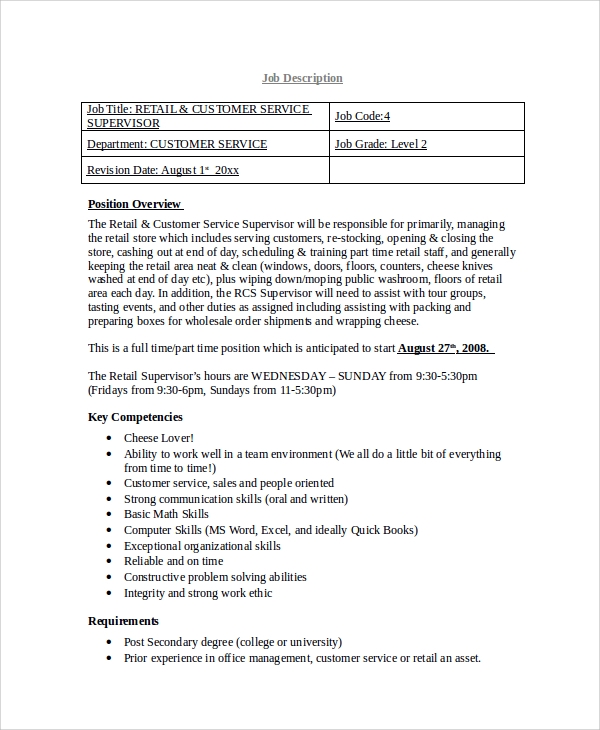 Sample Retail Job Description   Examples In Word Pdf