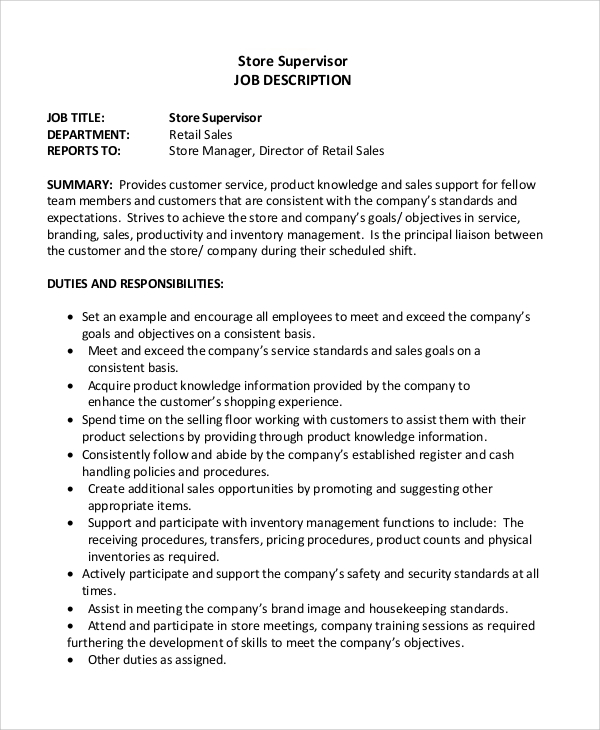 Sample Retail Job Description - 8+ Examples In Word, Pdf