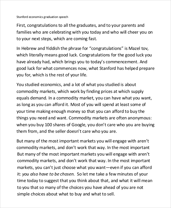 10 Graduation Speech Templates Pdf Doc Sample Templates