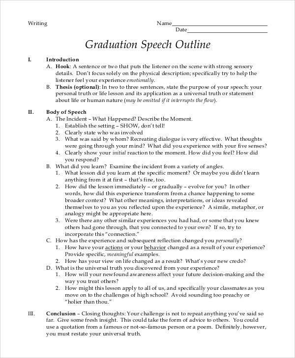 10 graduation speech templates pdf doc sample templates for Valedictorian speech template