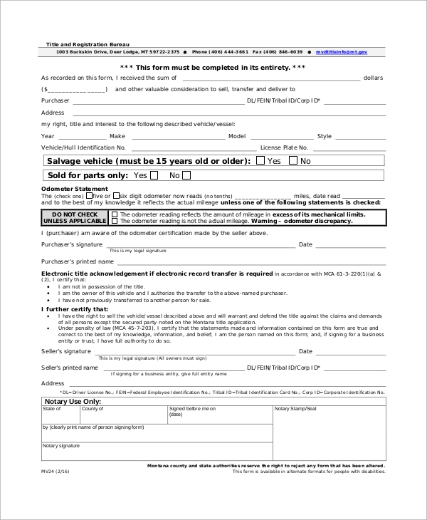 example bill of sale form