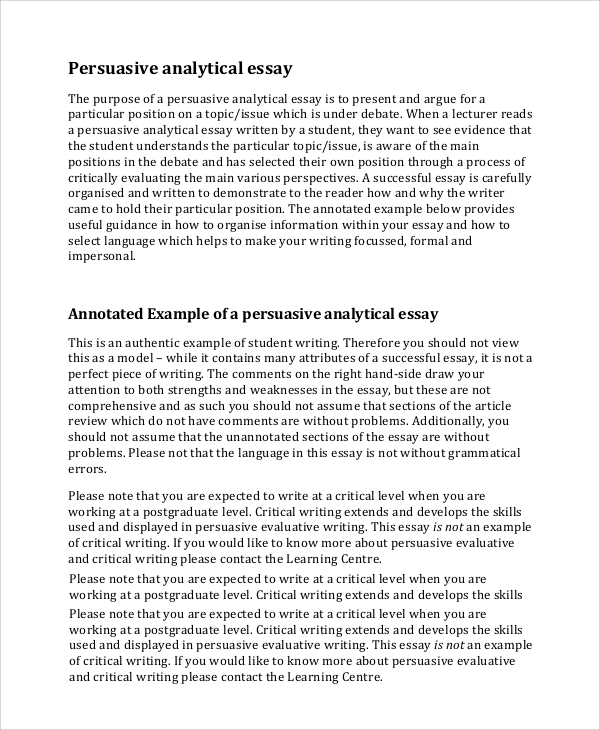 analysis essay example 7 examples in pdf word - Examples Of Persuasive Writing Essays