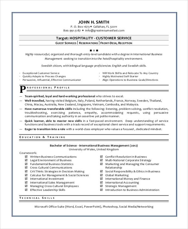 hospitality customer service resume