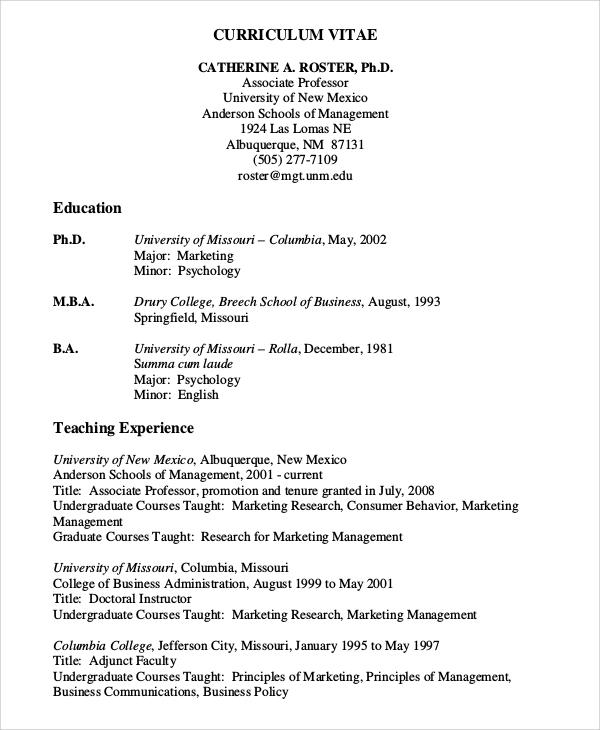 teaching experience curriculum vitae