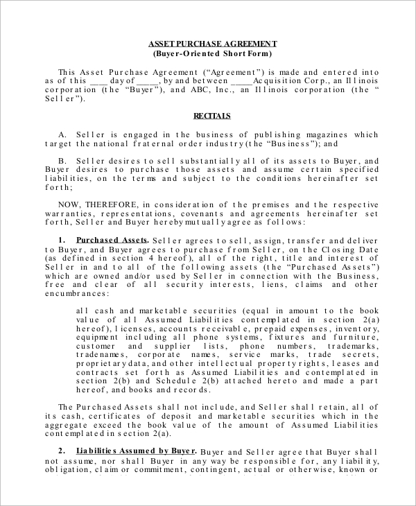Sample Asset Purchase Agreement 10 Examples in Word PDF – Asset Purchase Agreement Template