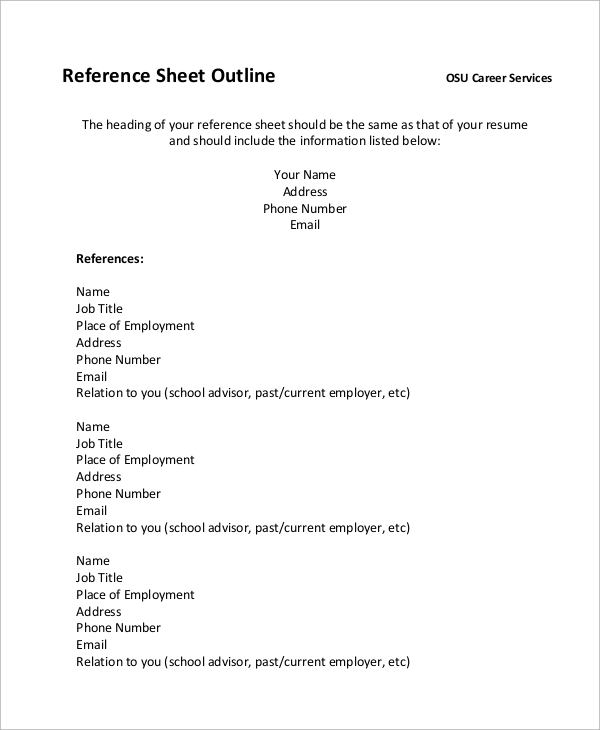 Resume Outline Sheet Example  Outlines For Resumes