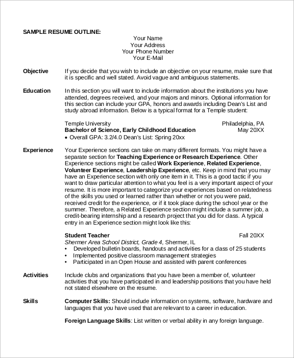 student resume outline